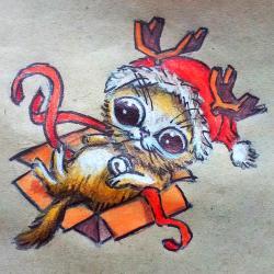 Рисунок котенка в новогоднем костюме цветными