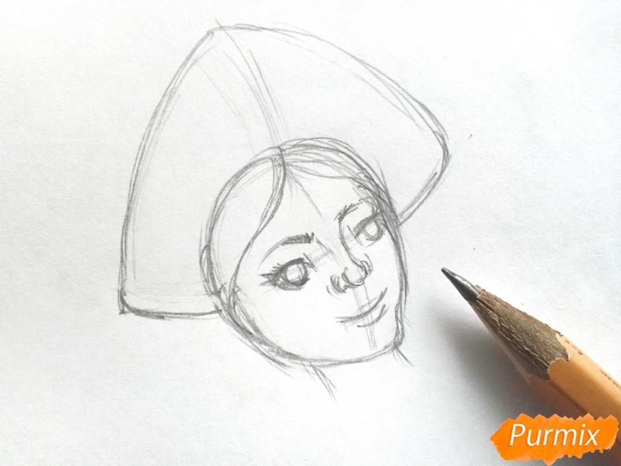 Рисуем лицо Снегурочки - шаг 3