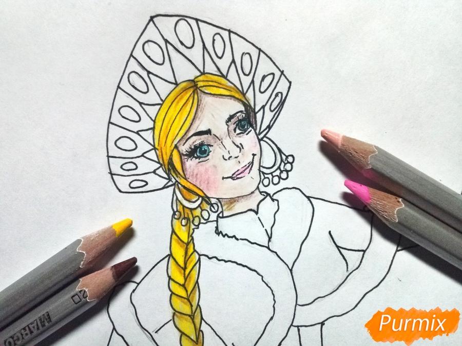 Рисуем лицо Снегурочки - шаг 8
