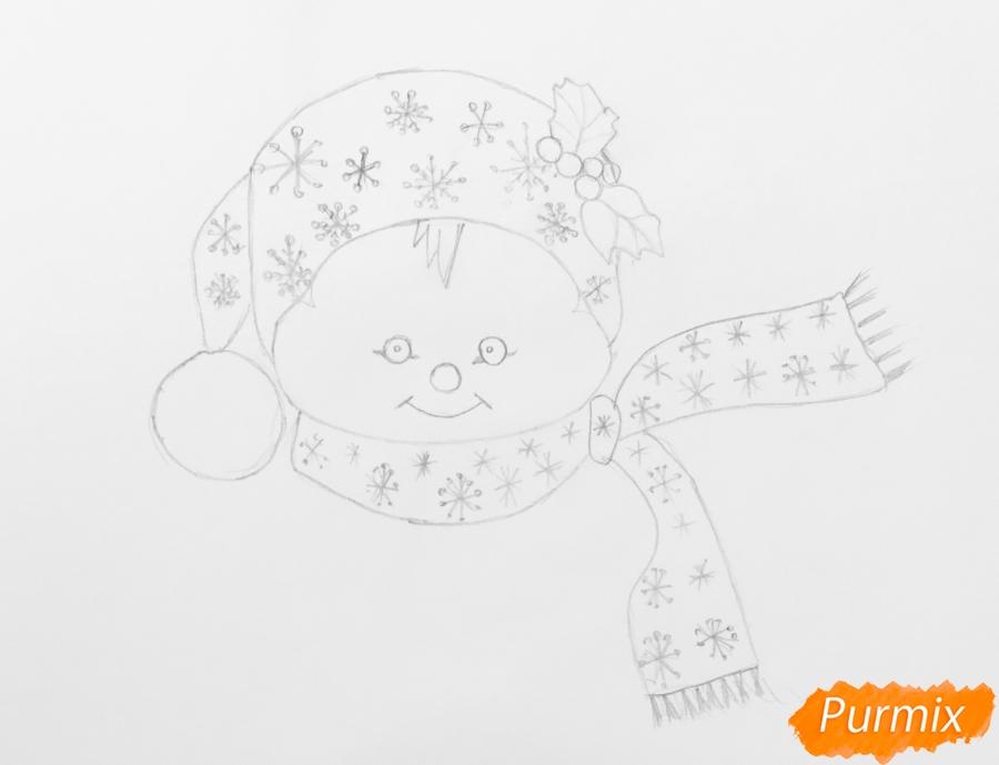 Рисуем маленького новогоднего снеговичка - шаг 4