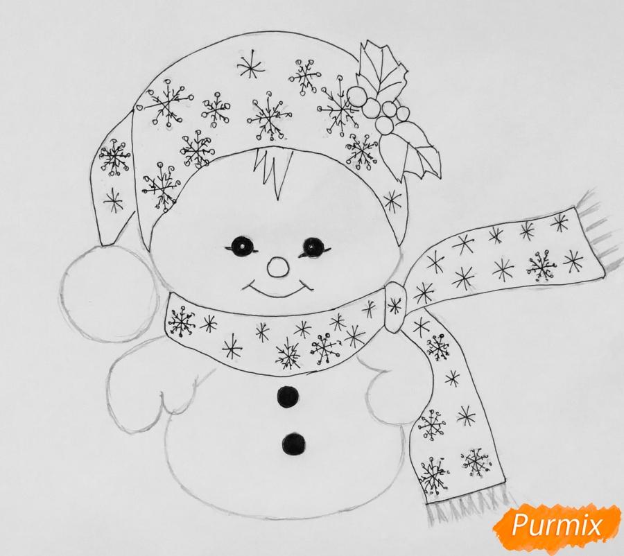 Рисуем маленького новогоднего снеговичка - шаг 6