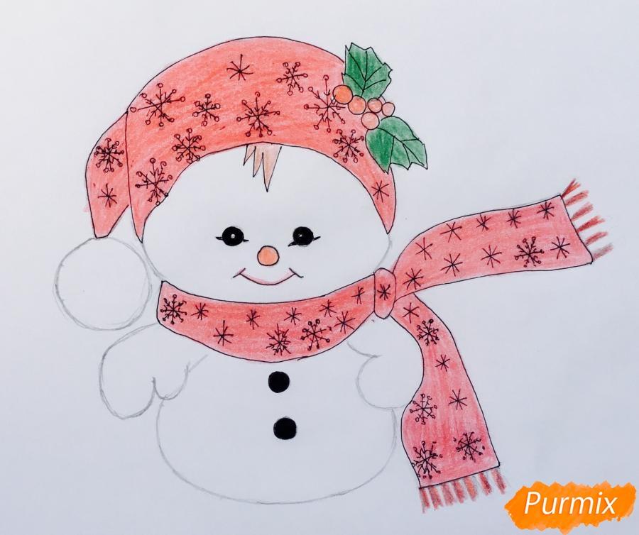 Рисуем маленького новогоднего снеговичка - шаг 7