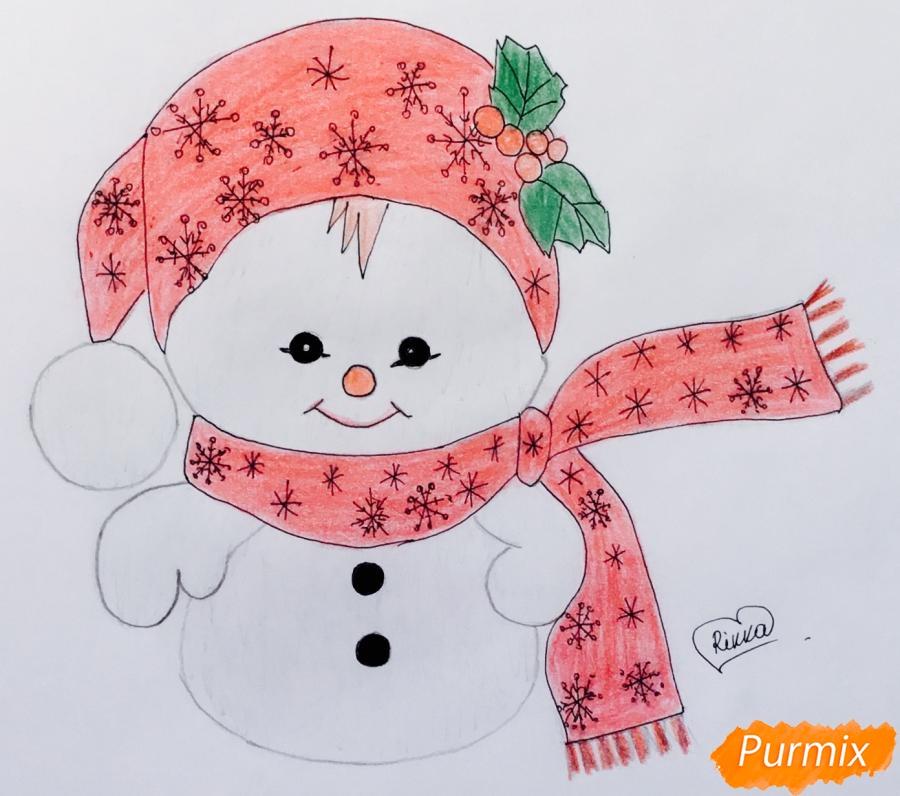 Рисуем маленького новогоднего снеговичка - шаг 8