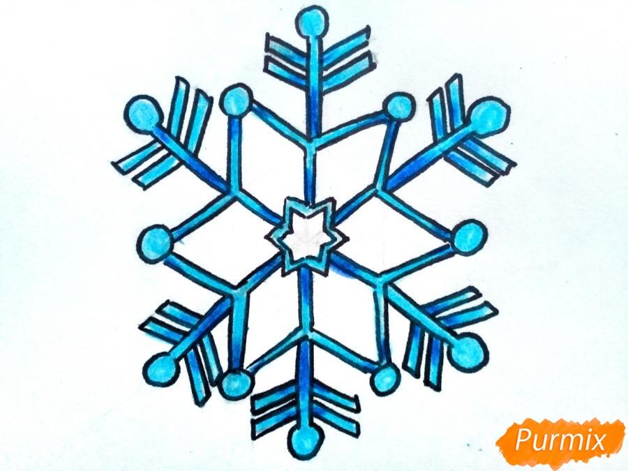 Рисуем маленькую снежинку - фото 6