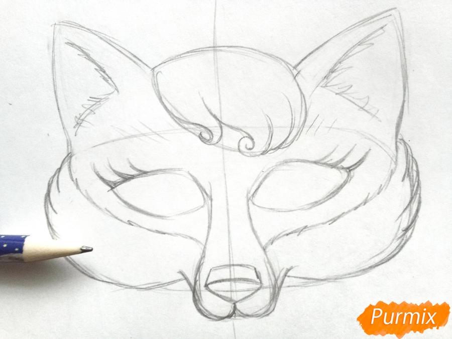 Рисуем маску лисицы на новый год - фото 4