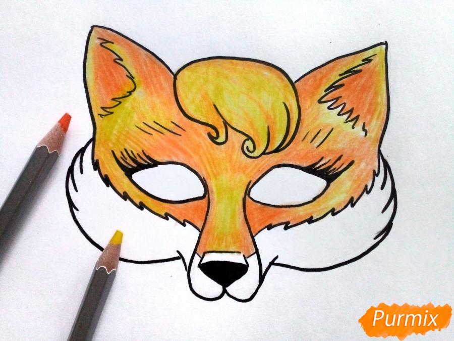 Рисуем маску лисицы на новый год - фото 6