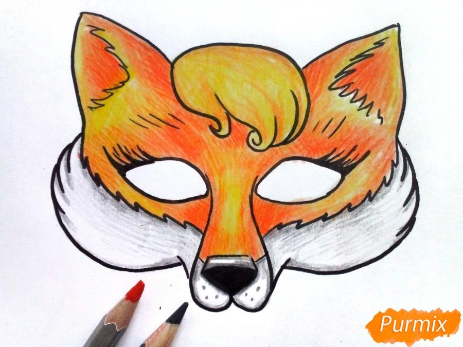 Рисуем маску лисицы на новый год - фото 7