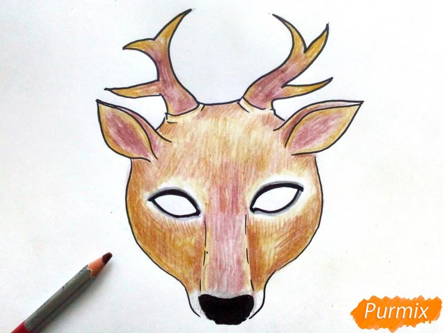 Рисуем маску оленя на новый год - фото 7