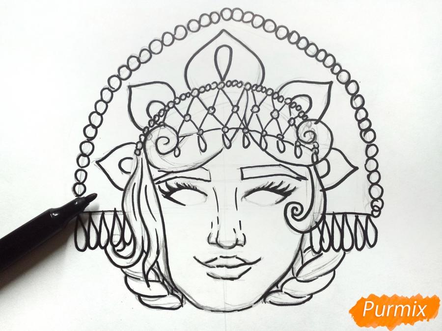 Рисуем маску Снегурочки - фото 5