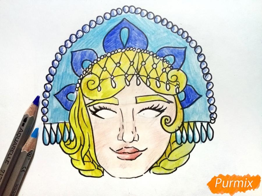 Рисуем маску Снегурочки - фото 8