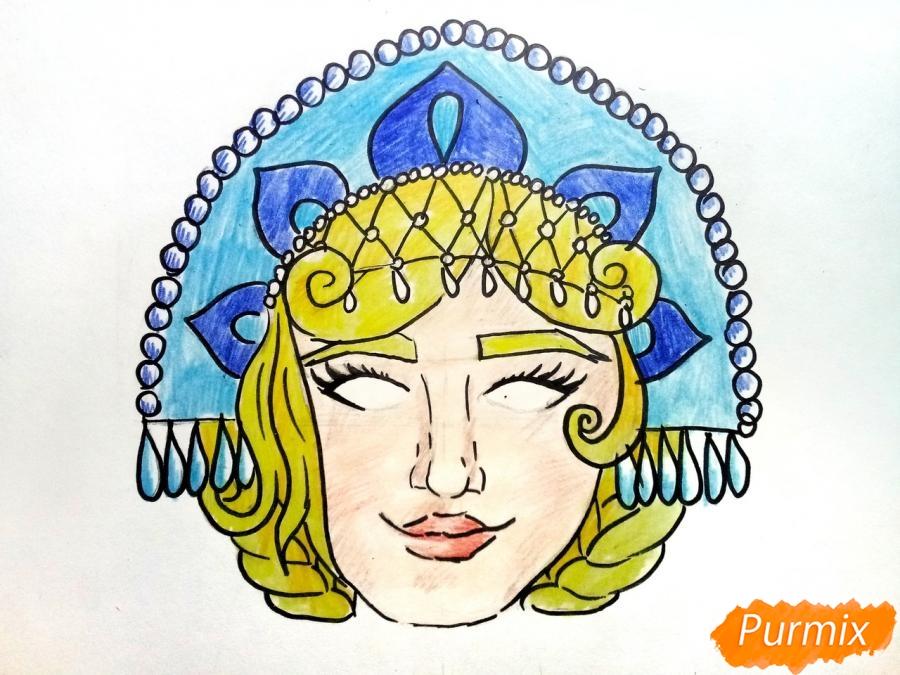 Рисуем маску Снегурочки - фото 9
