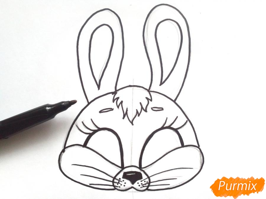 Рисуем маску зайца на новый год - фото 5