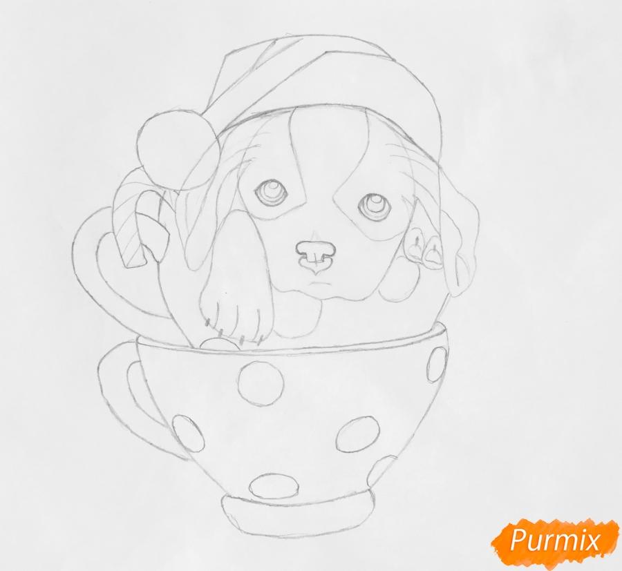 Рисуем милого новогоднего щеночка чашечках - шаг 6