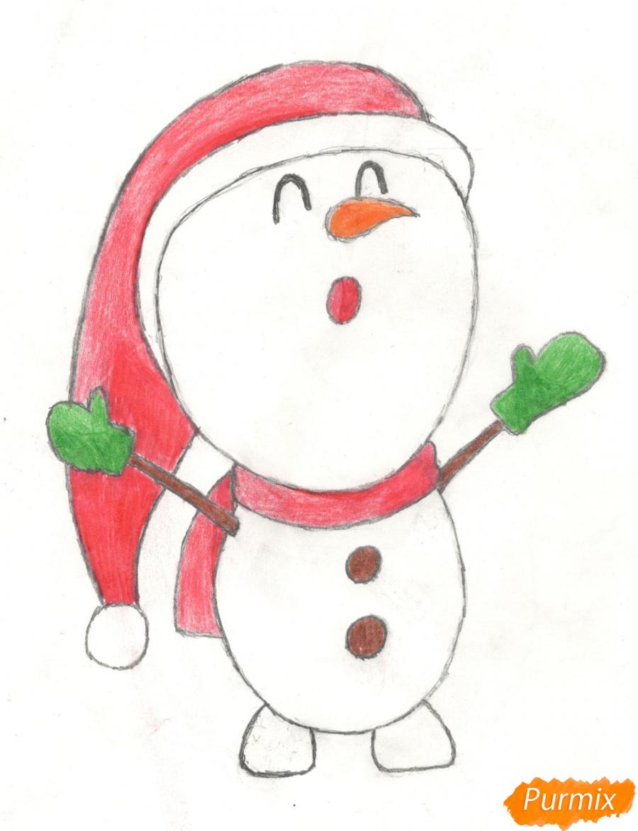 Рисуем милого поющего крошку снеговика - шаг 10