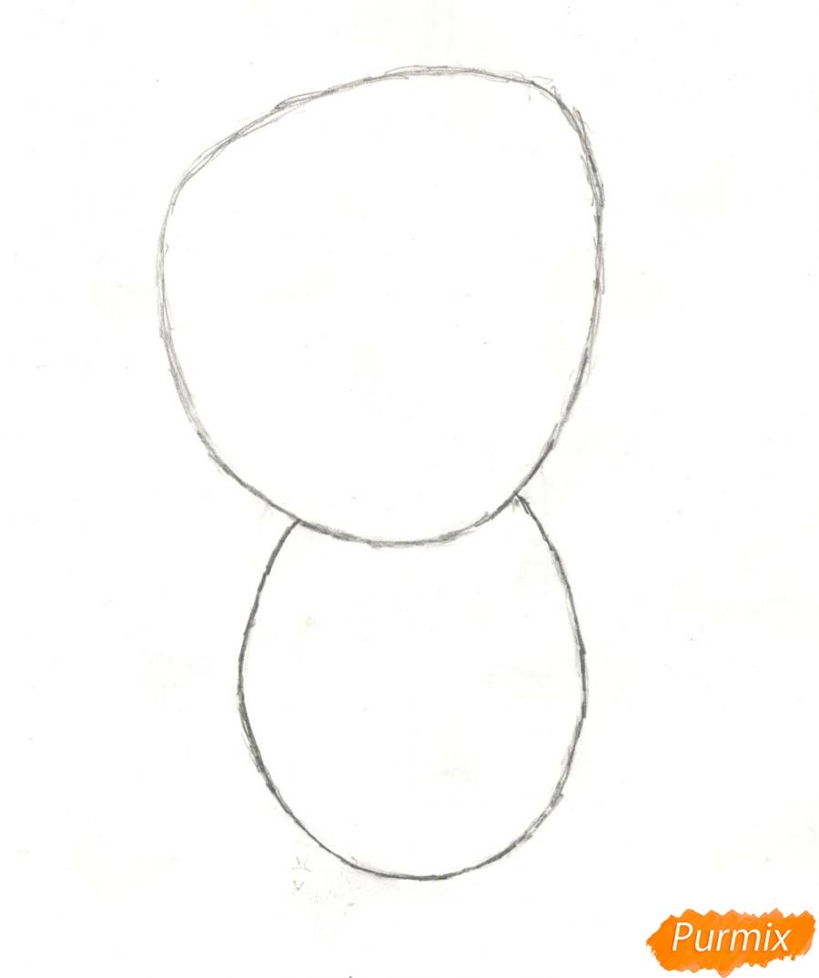 Рисуем милого поющего крошку снеговика - шаг 2