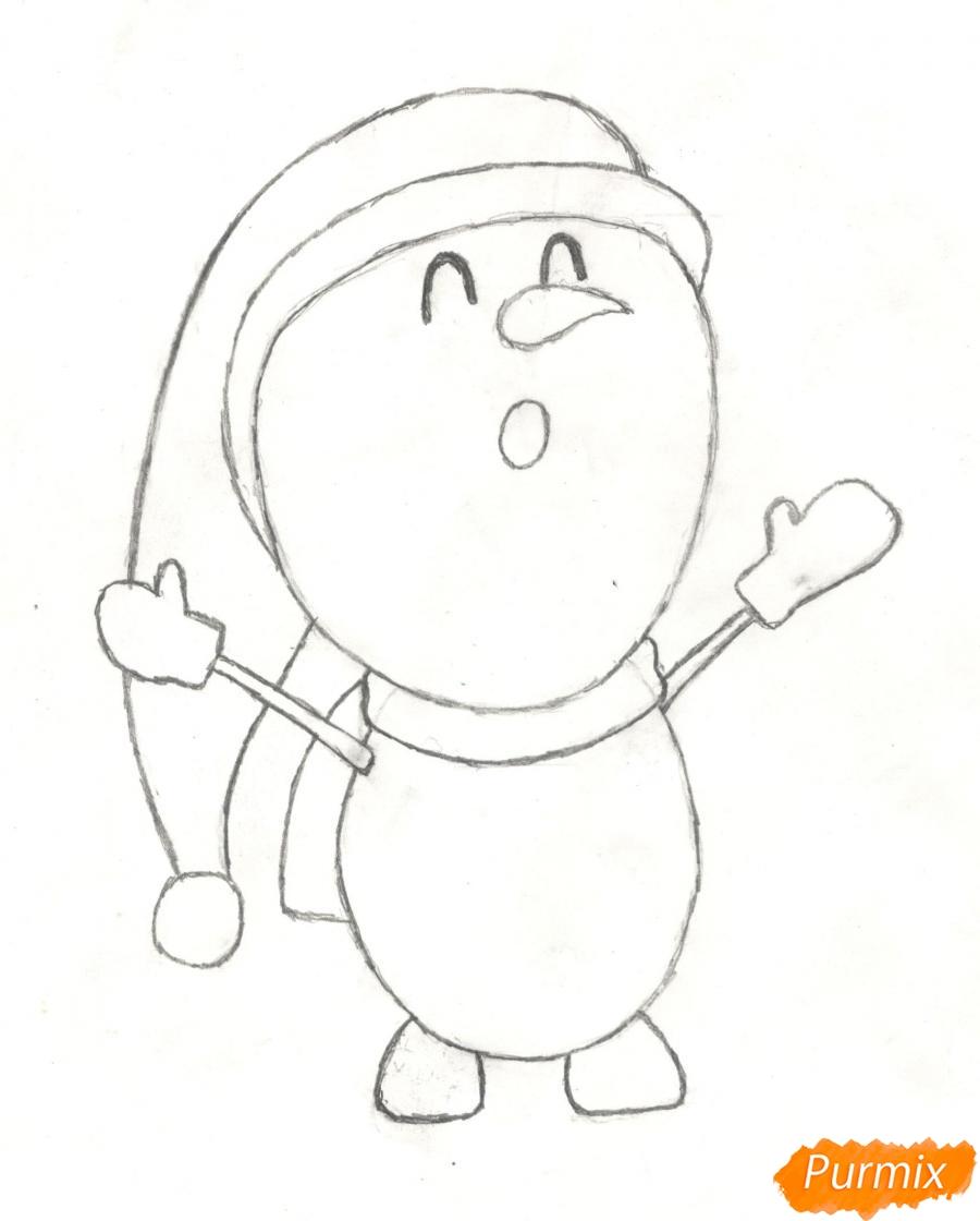Рисуем милого поющего крошку снеговика - шаг 6