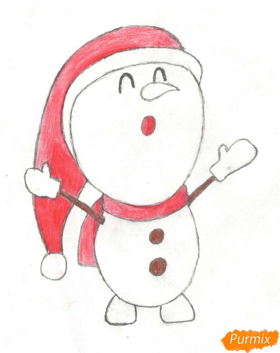 Рисуем милого поющего крошку снеговика - шаг 8