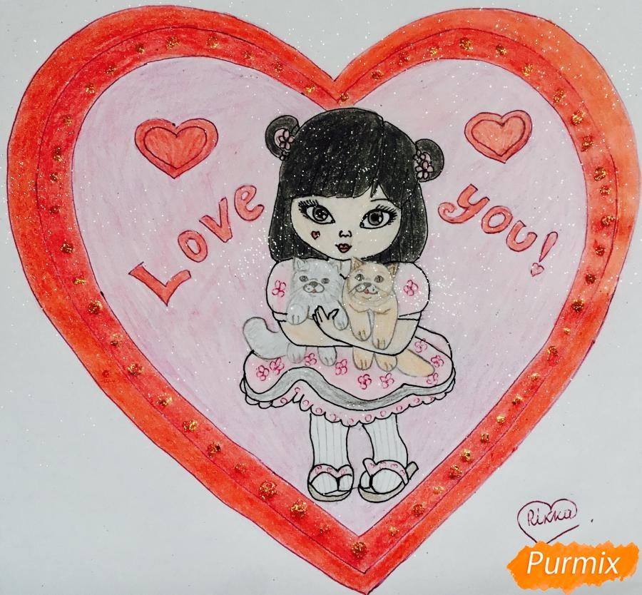 Рисуем милую девочку с двумя влюблёнными котиками - шаг 12