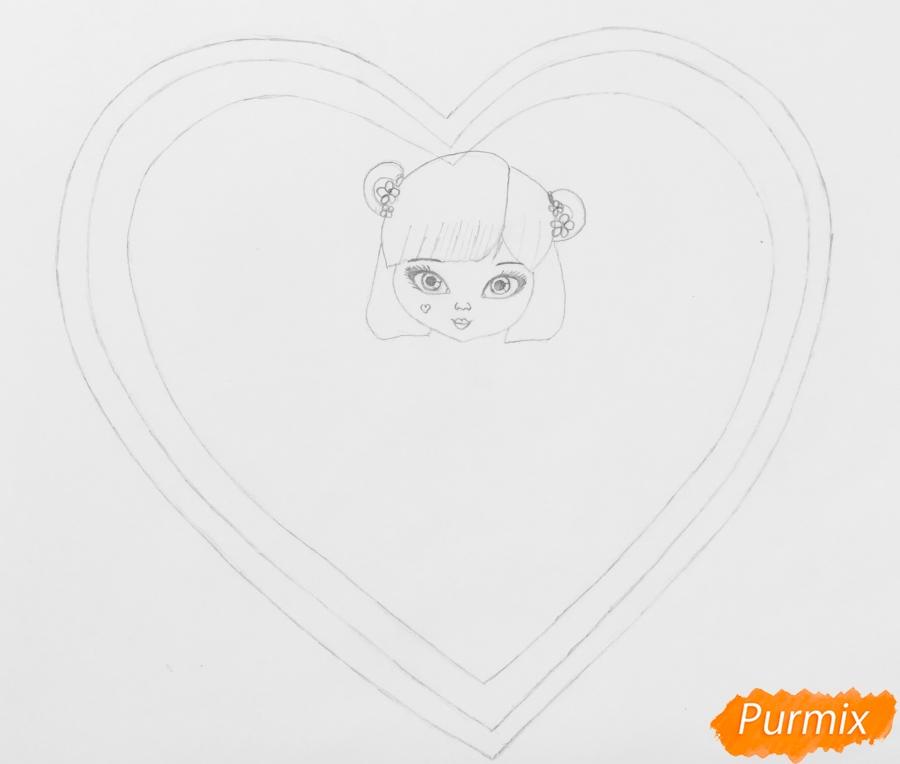 Рисуем милую девочку с двумя влюблёнными котиками - шаг 4
