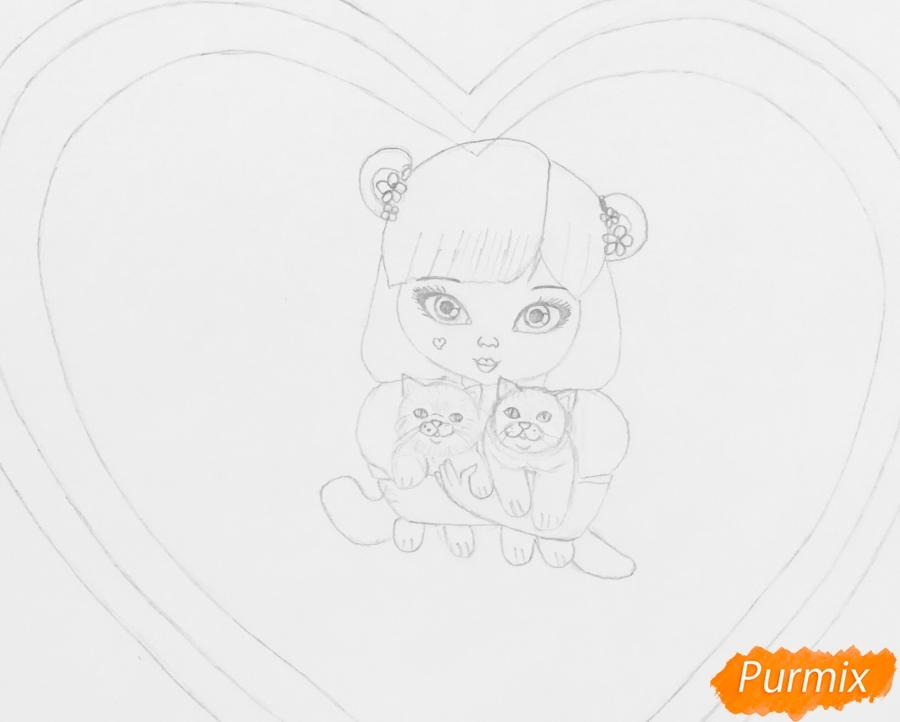 Рисуем милую девочку с двумя влюблёнными котиками - шаг 5