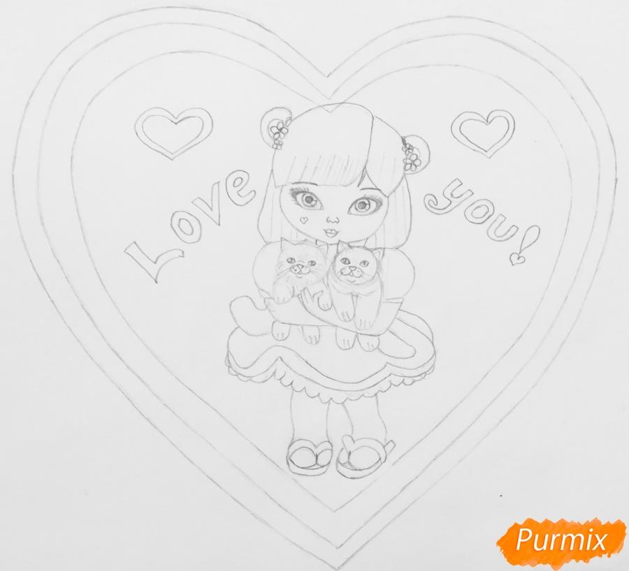 Рисуем милую девочку с двумя влюблёнными котиками - шаг 7