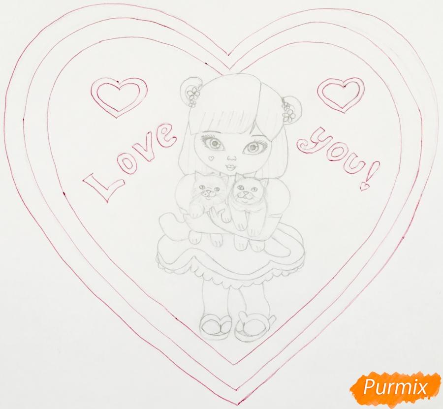 Рисуем милую девочку с двумя влюблёнными котиками - шаг 8
