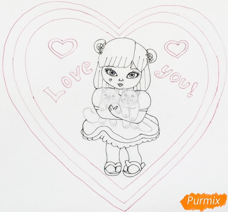 Рисуем милую девочку с двумя влюблёнными котиками - шаг 9