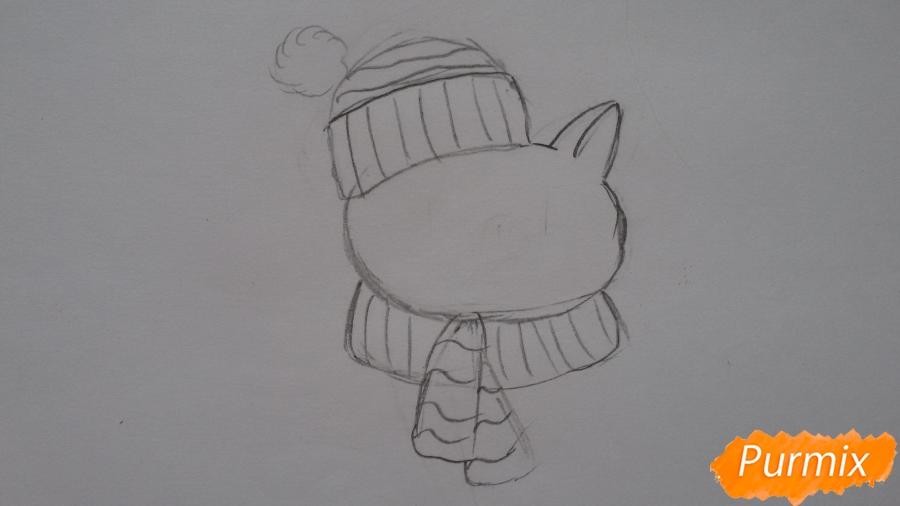 Рисуем мультяшную свинью с шапочкой и шарфом - шаг 3