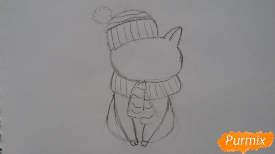 Рисуем мультяшную свинью с шапочкой и шарфом - шаг 4