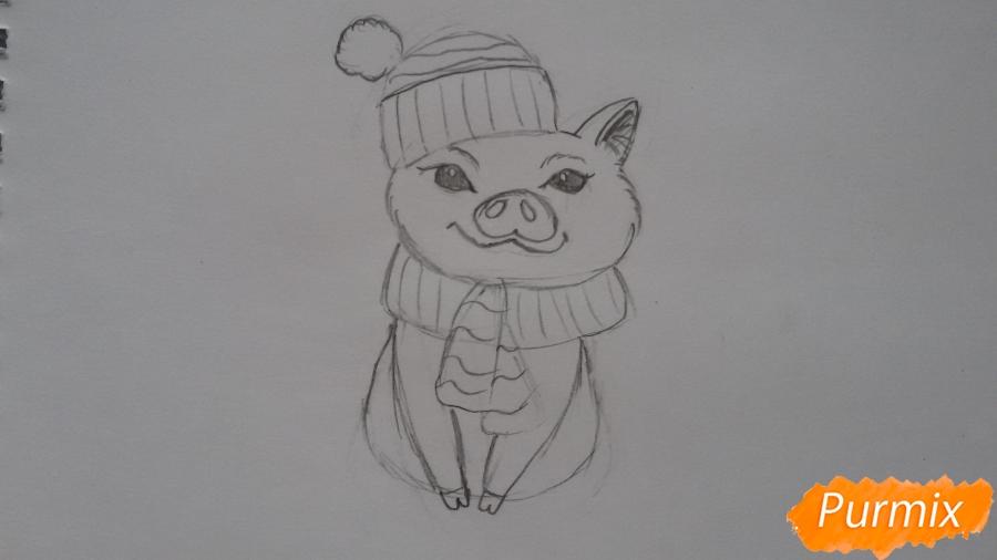 Рисуем мультяшную свинью с шапочкой и шарфом - шаг 5