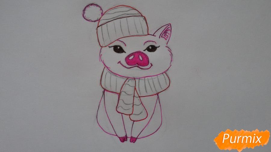 Рисуем мультяшную свинью с шапочкой и шарфом - шаг 6
