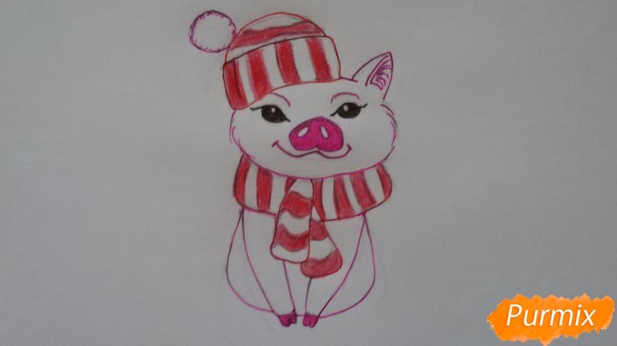 Рисуем мультяшную свинью с шапочкой и шарфом - шаг 7