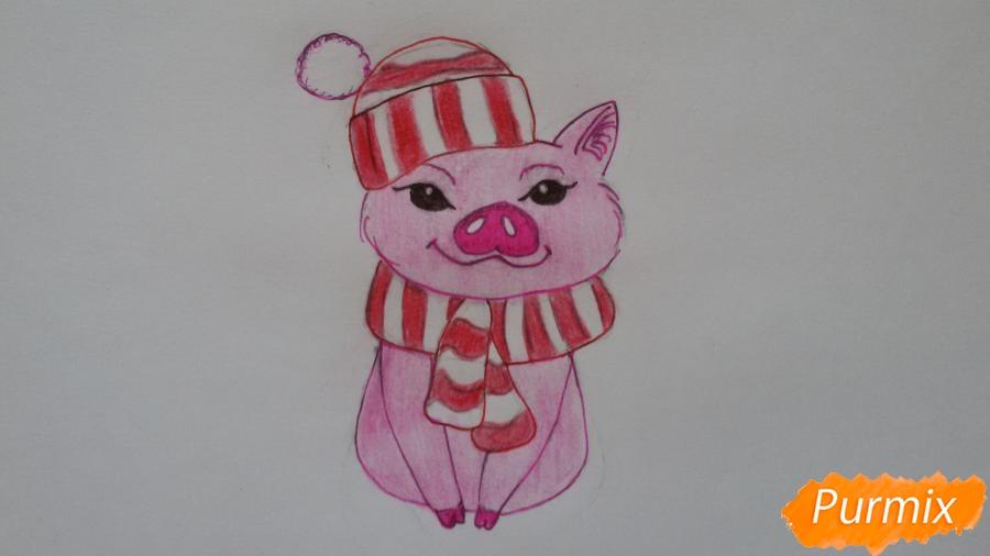 Рисуем мультяшную свинью с шапочкой и шарфом - шаг 8