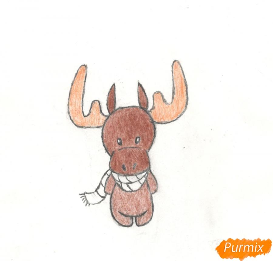 Рисуем новогоднего лося карандашами - фото 10