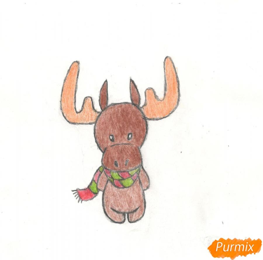 Рисуем новогоднего лося карандашами - фото 11