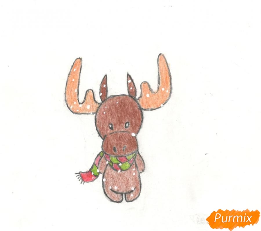 Как нарисовать новогоднего лося карандашами поэтапно