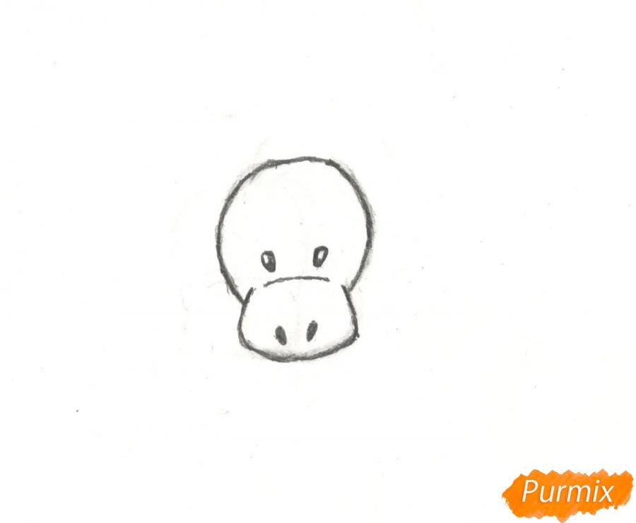 Рисуем новогоднего лося карандашами - шаг 2