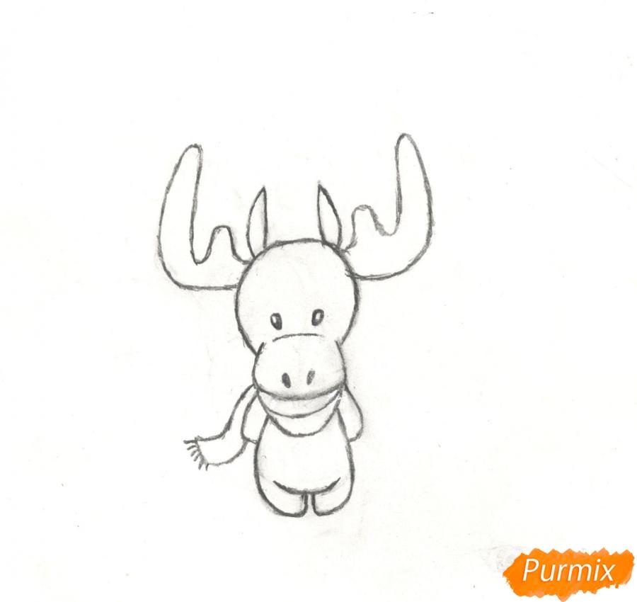 Рисуем новогоднего лося карандашами - фото 7