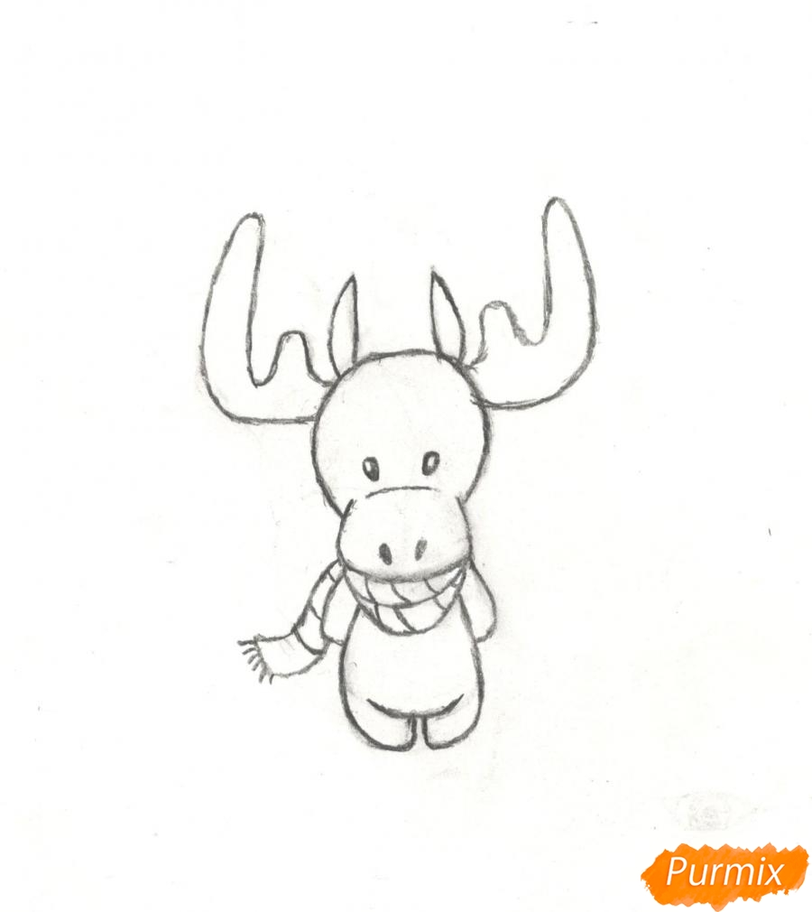 Рисуем новогоднего лося карандашами - фото 8