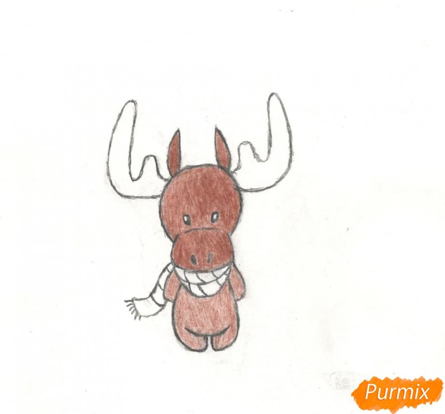 Рисуем новогоднего лося карандашами - фото 9