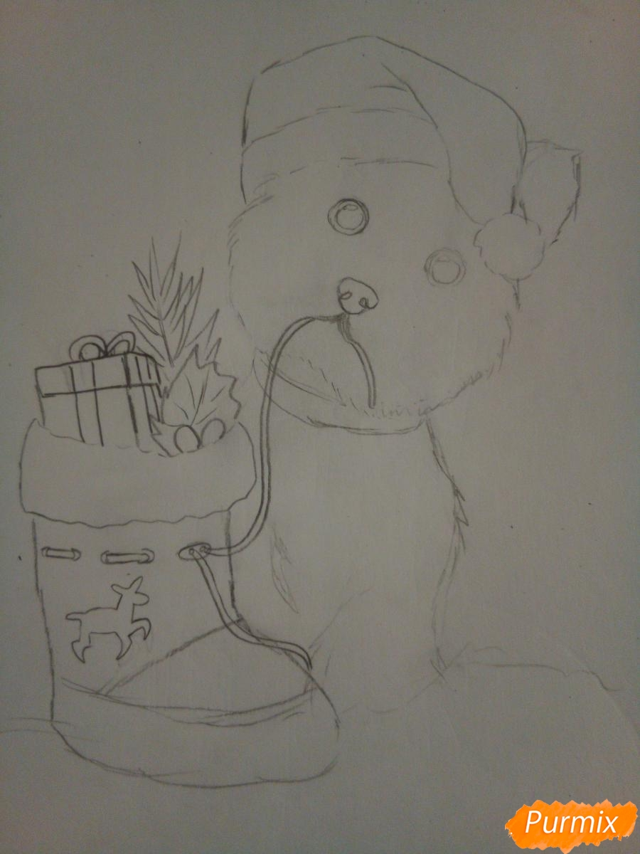 Рисуем новогоднего щеночка породы йоркширский терьер в шапочке - шаг 6