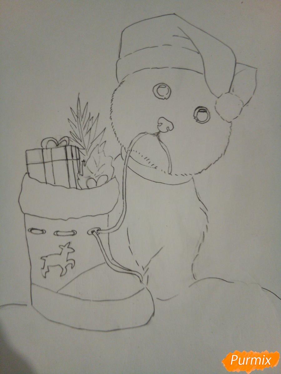 Рисуем новогоднего щеночка породы йоркширский терьер в шапочке - шаг 7