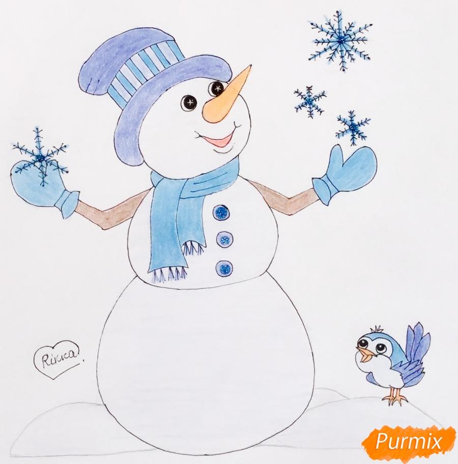Рисуем новогоднего снеговика в цилиндре и с птичкой - шаг 10