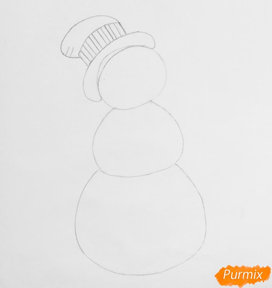 Рисуем новогоднего снеговика в цилиндре и с птичкой - шаг 4