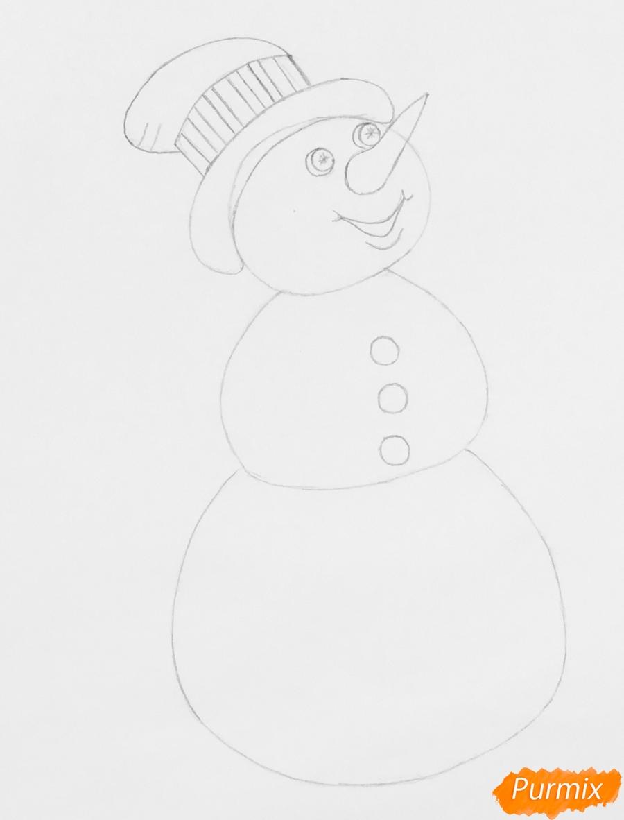 Рисуем новогоднего снеговика в цилиндре и с птичкой - шаг 5