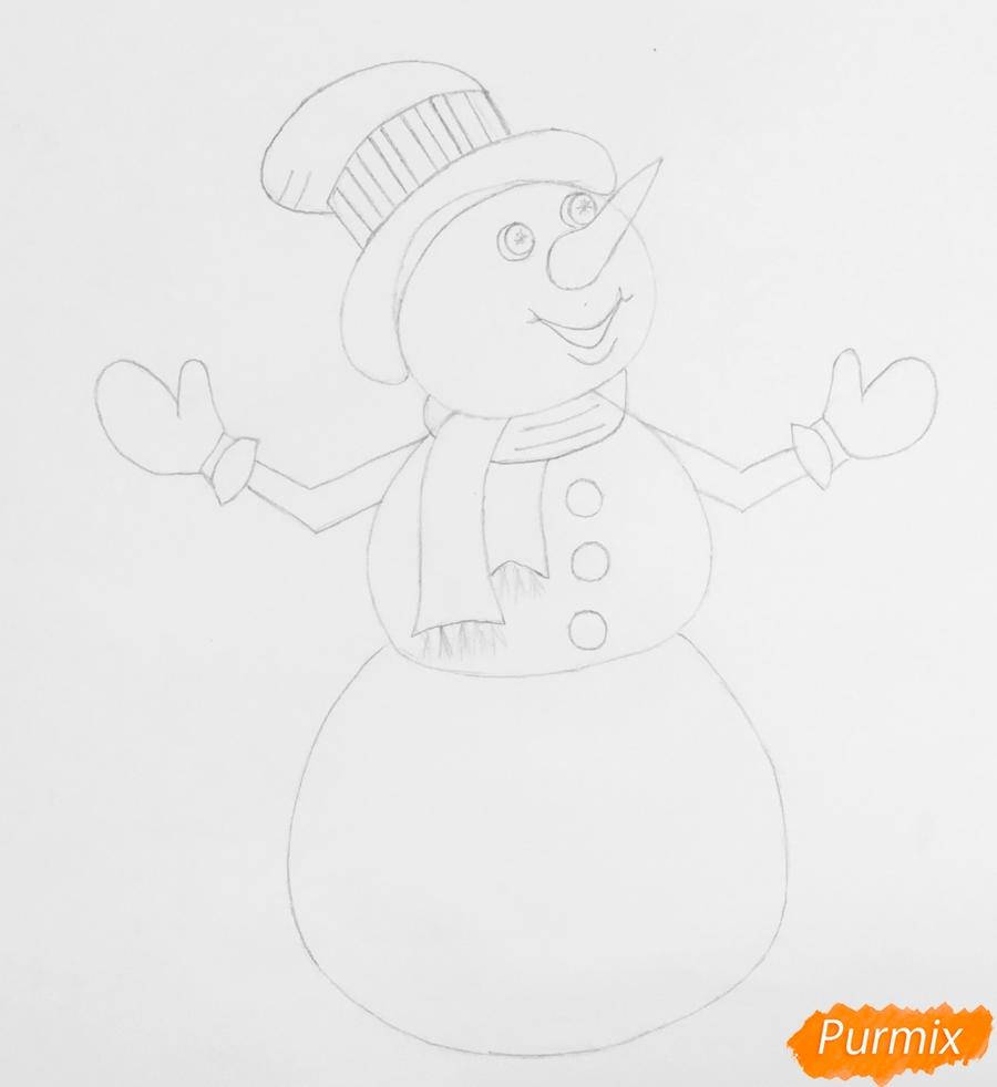 Рисуем новогоднего снеговика в цилиндре и с птичкой - шаг 6