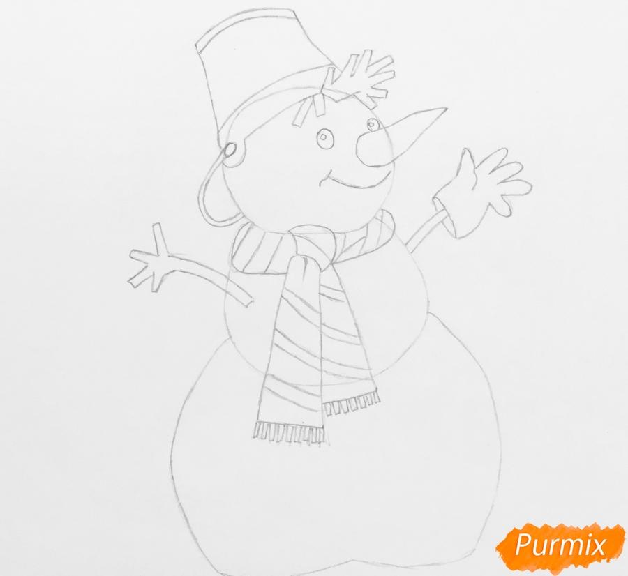 Рисуем новогоднего снеговика в шарфике и ведёрком на головке - шаг 6