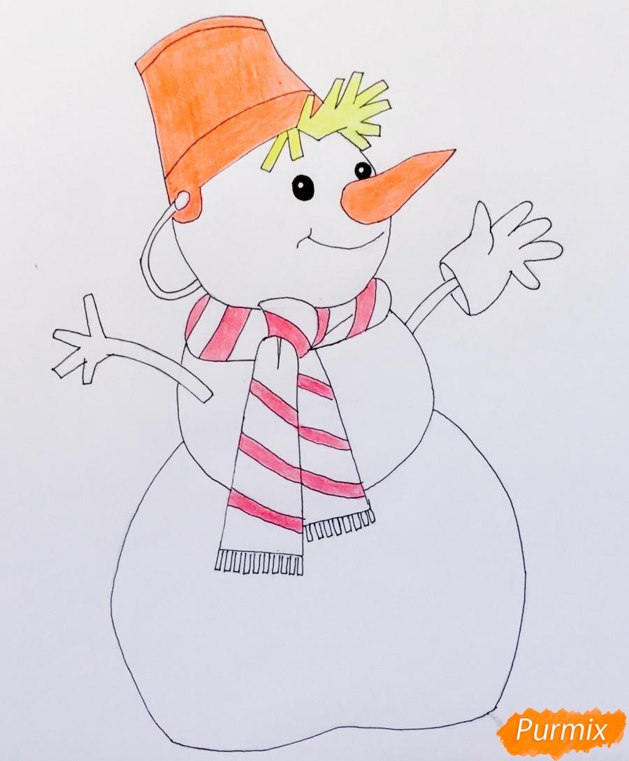 Рисуем новогоднего снеговика в шарфике и ведёрком на головке - шаг 8