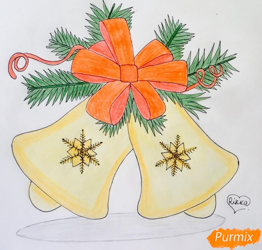 Рисуем новогодние колокольчики с красным бантиком и веточками ёлочки - фото 10
