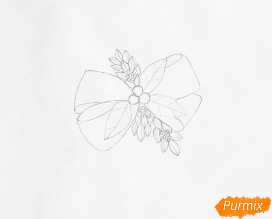 Рисуем новогодние леденцы с веточками ёлочки - шаг 2